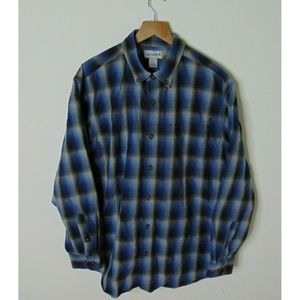 Carhartt L Long Sleeve Collared Button Shirt Blue